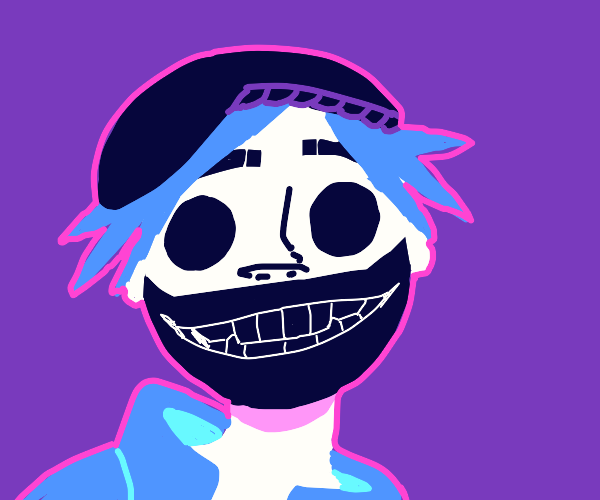 Gorilaz guy using a creepy grinning mask