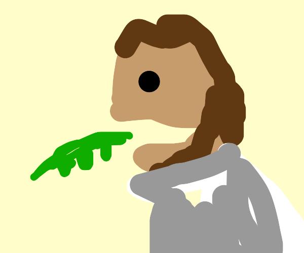 Jesus eating a green bean