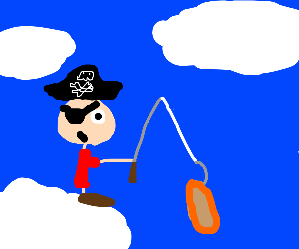 pirate in the clouds fishes out pancakes