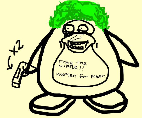 feminist penguins with green hair and guns