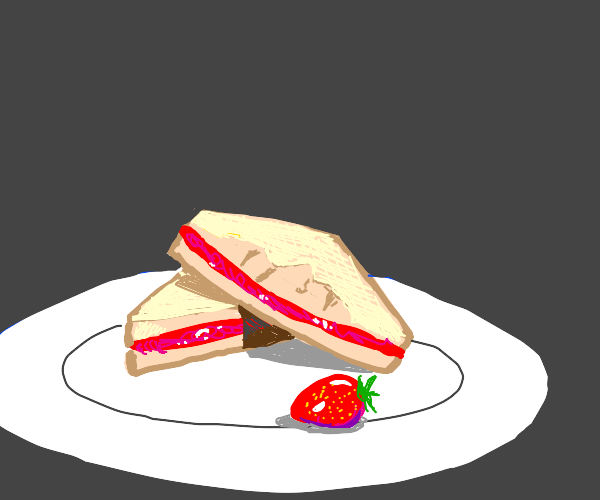 a strawberry jam sandwich with a face