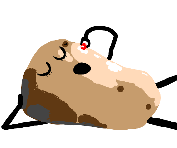 big potato man eating m&ms at a table