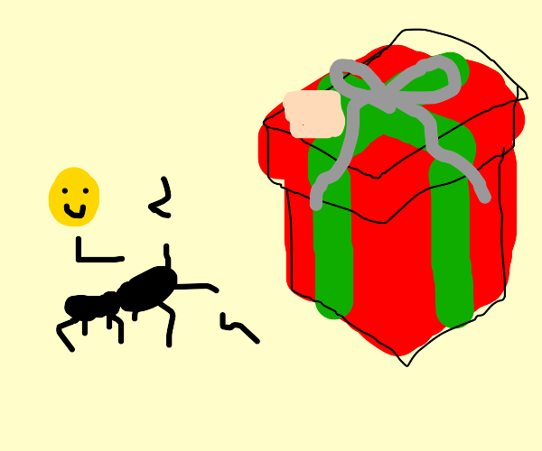 ant gets a present and is happy