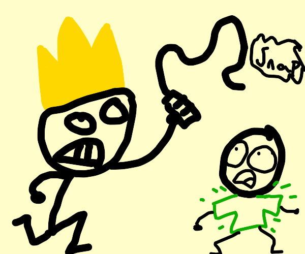 King tortures person with green shirt.