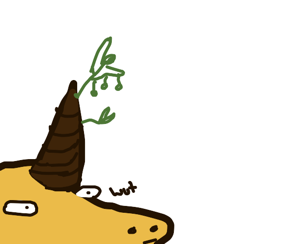 A horn growing a sprout