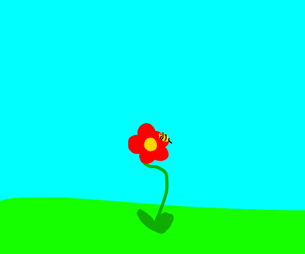 A bee with a red flower