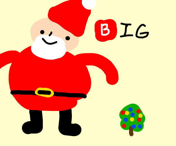 Santa next to small christmas tree