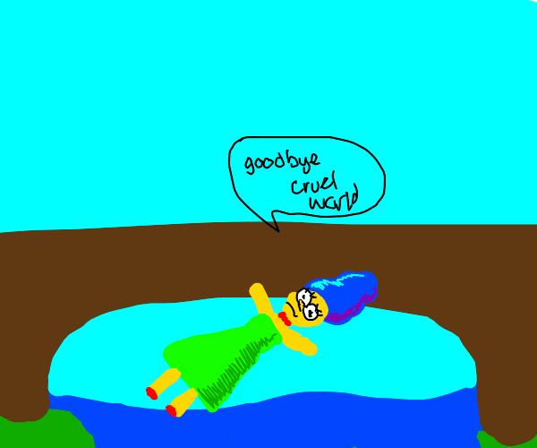 Maggie (The Simpsons) falls off a bridge