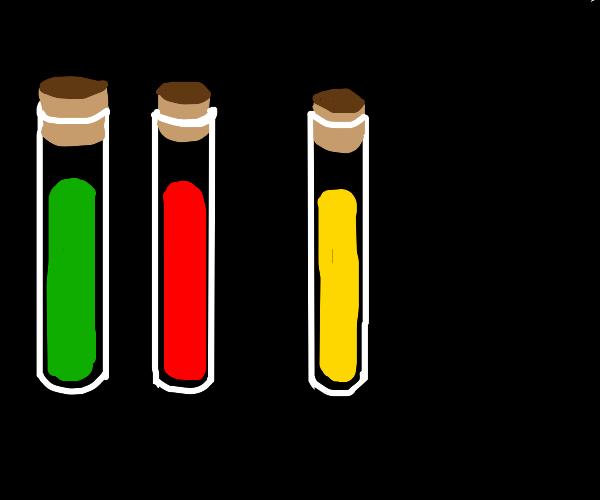 3 colorful vials