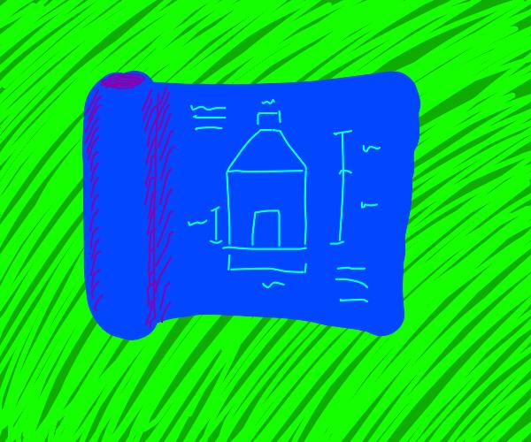 blueprint on grassy dirt