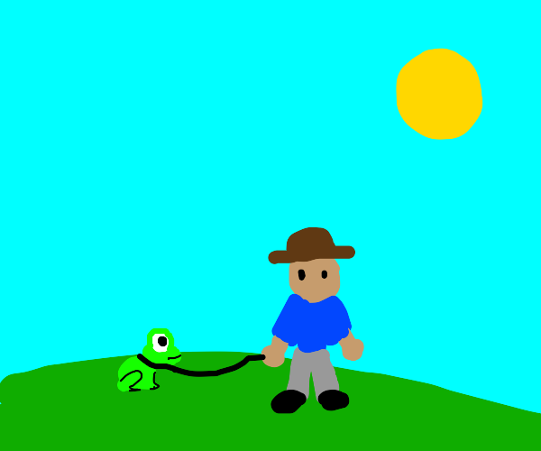 Man goes on a walk with his frog