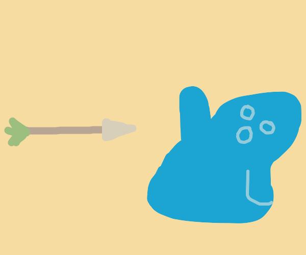 Blue Blob Dodging an Arrow