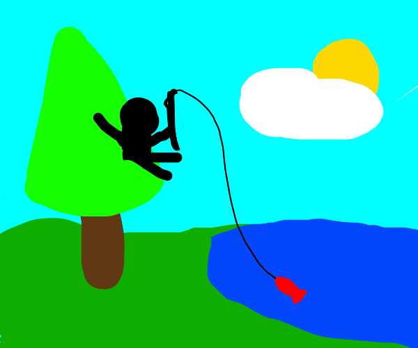 Fishing from a tree