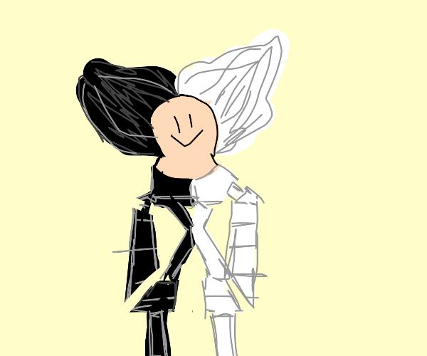 half black half white robot man