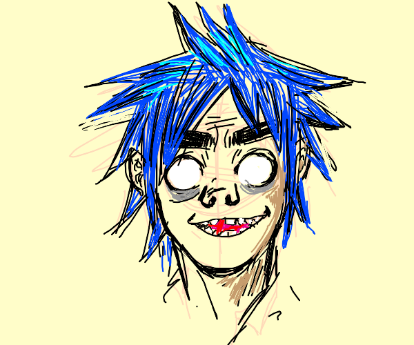 blue haired person with no pupils