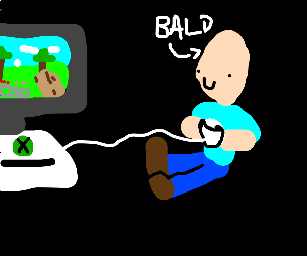 bald guy happily playing Xbox