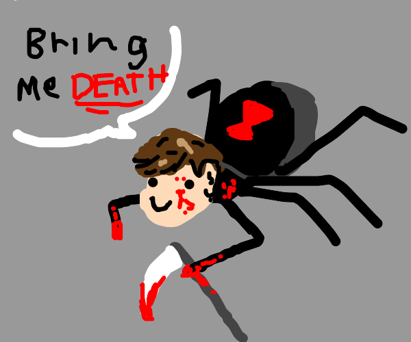 Spider with man head looks for death.