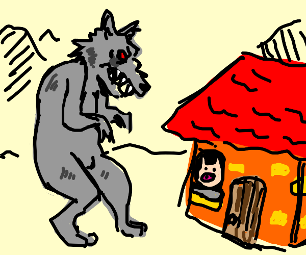 Giant Big Bad Wolf Attacking Pig House