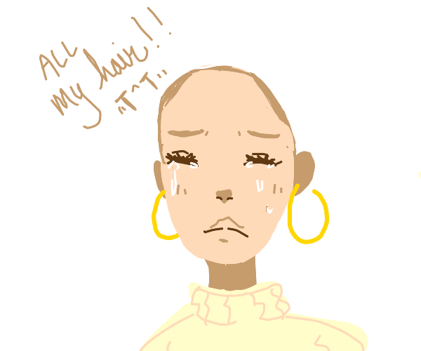 Bald girl crying