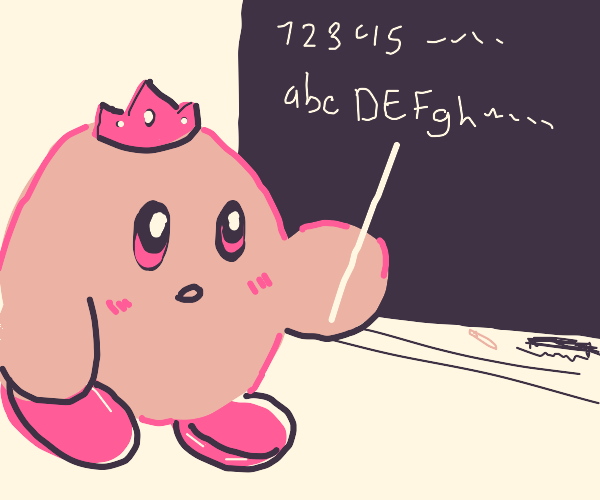 Princess Kirby teaches numbers and alphabet