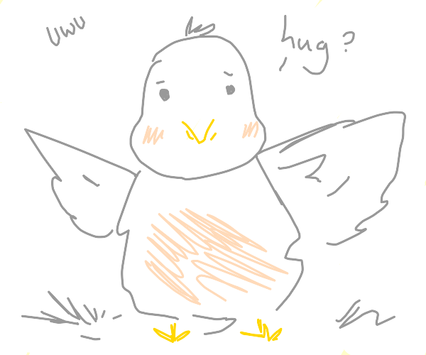 bird has wings AND arms; reaches out for hug