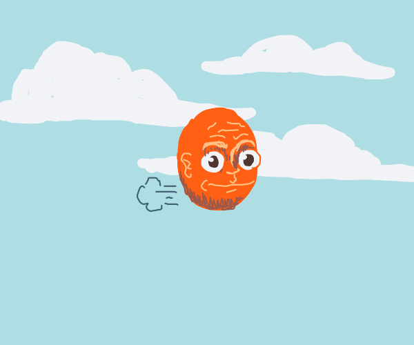 orange head farting away in the sky