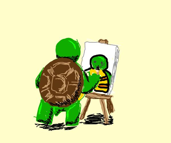 Turtle paints a self-portrait
