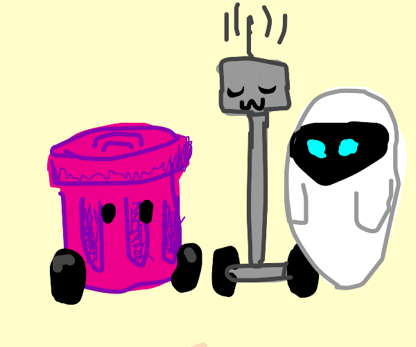 Pink trash can robot, an uwu robot, and eve