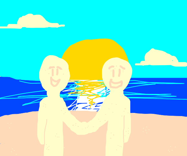 sand men hold hands