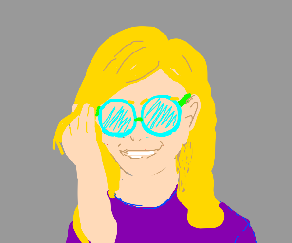 blonde teen girl w/ glasses & purple shirt