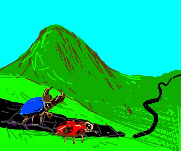 Follow the obsidian road- Beatles+blue beatle