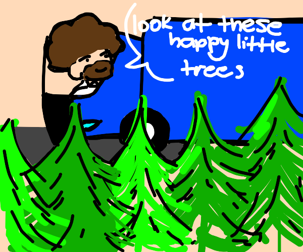 bob ross in a blue truck commenting on trees