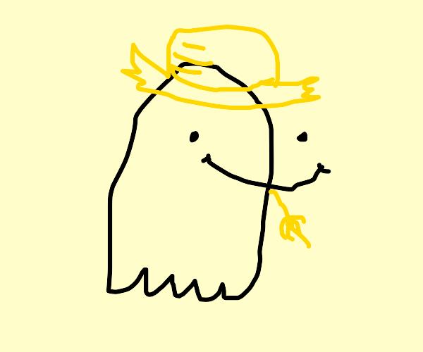 Ghost wearing a smoking straw hat