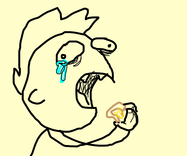 boy cries because he has to eat bread