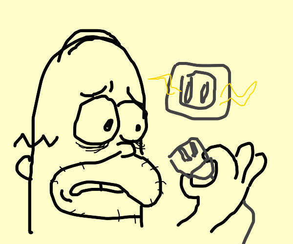 Homer terrified because speaker is unplugged