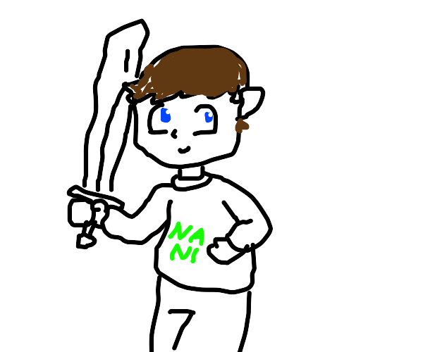 Anime dude with sword and Nani sweater