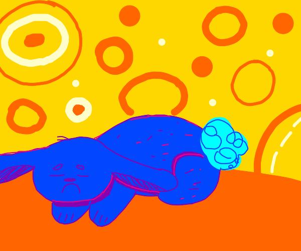 Sad blue rabbit goes to sleep