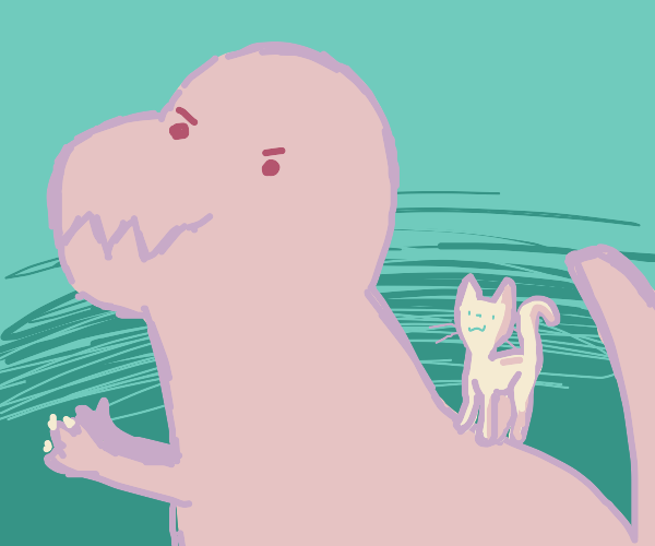 A white cat walking on a brown t-rex's back.
