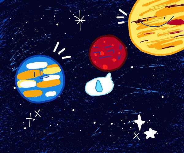 Awkward chat between planets.