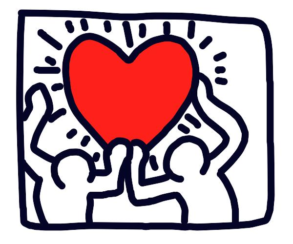 Shoddily painted heart logo