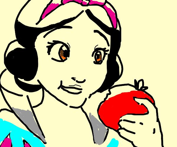 Snow White eating a Tomato