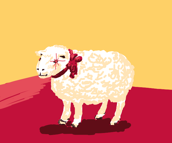 Sheep, in a Red Field, with a Red Bow
