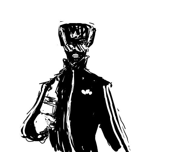 Gopnik with ushanka, shades, black face mask
