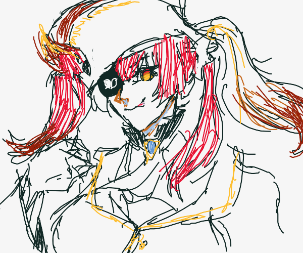 Anime Pirate Girl with Red Parrot