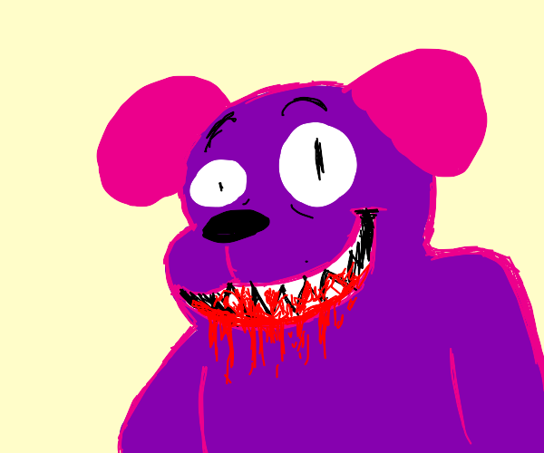 Purple dog monster eats blood