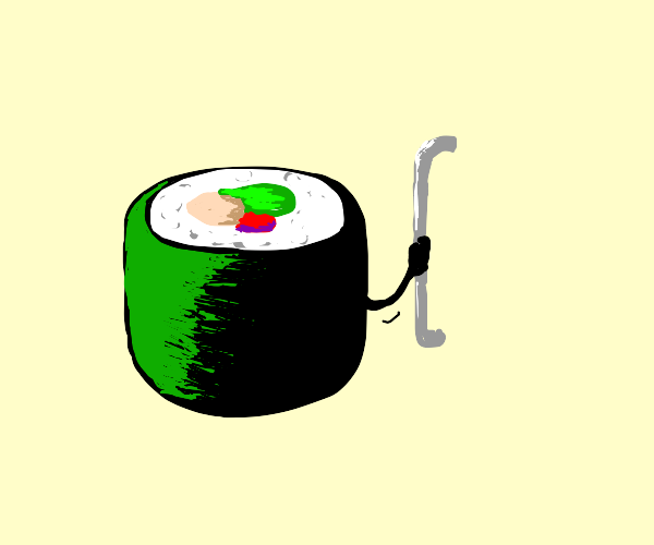 Sushi with an iron handle