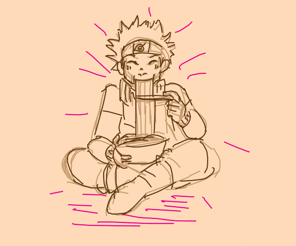 Cutie Naruto Eats Ramen in Pink Background