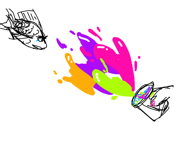 Tossing Paint at a Sad Fish