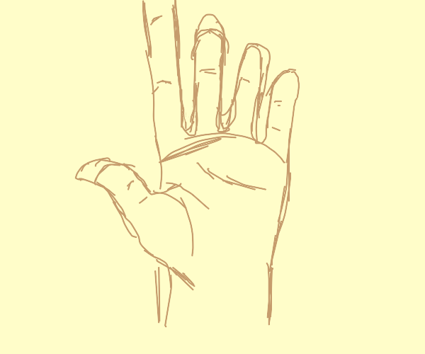 hand with very long index finger