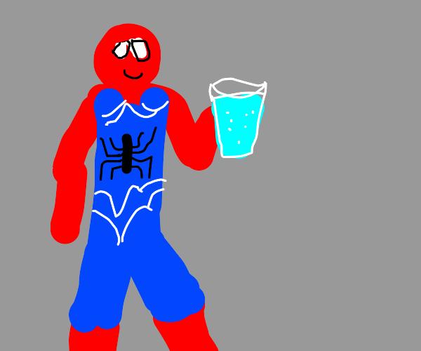 Spiderman drunks water